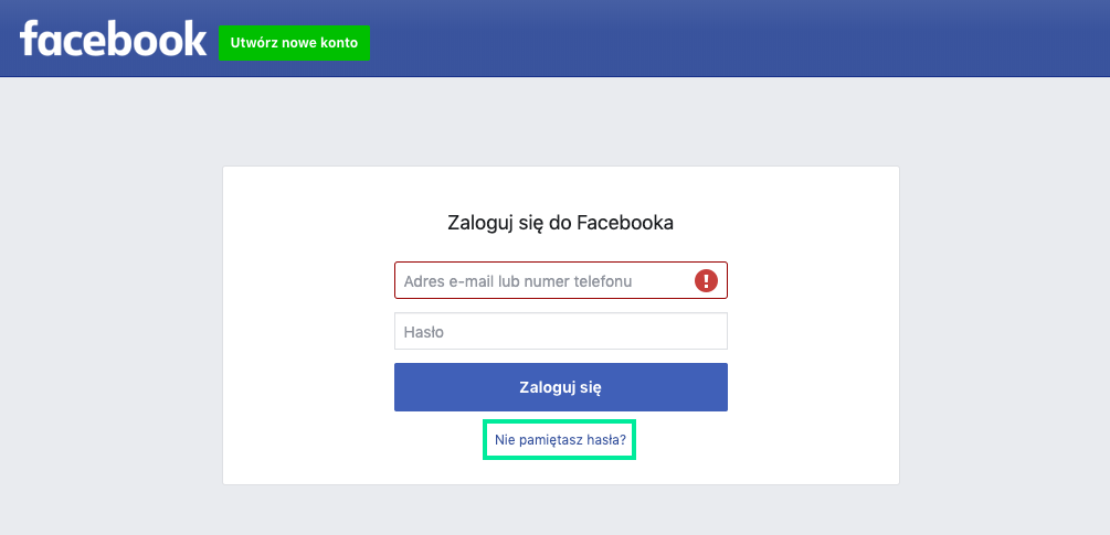 facebook nie pamiętasz hasła