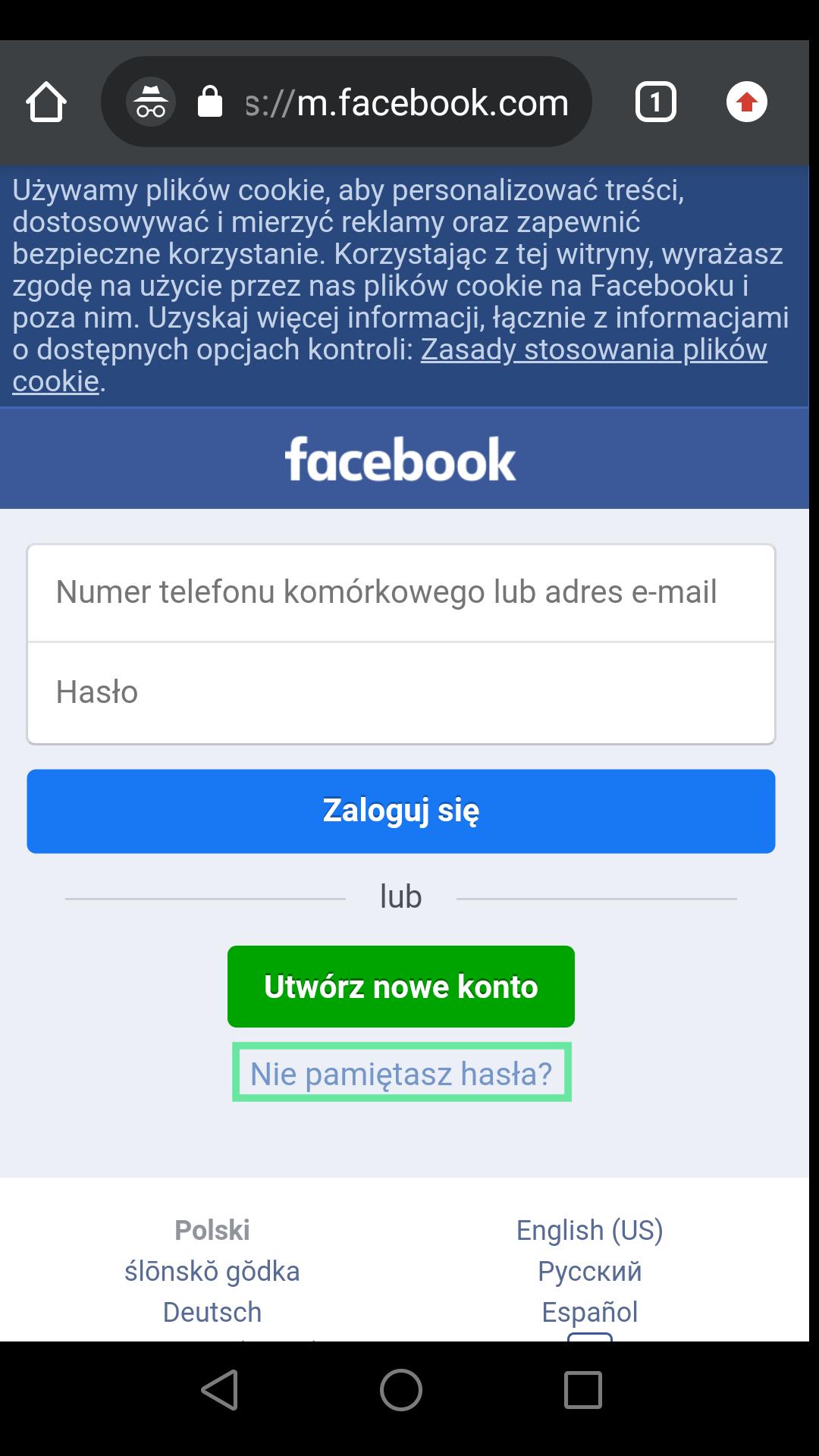 odzyskiwanie hasła do fb na telefonie