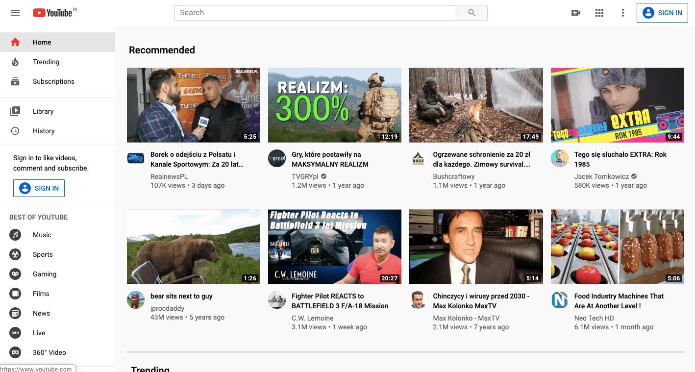 darmowe filmy na youtube